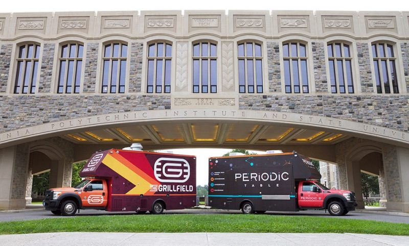 The Grillfield and Periodic Table, Dining Services food trucks are parked underneath Torgersen Bridge.